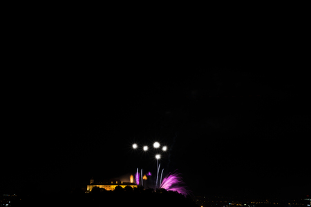 Beautiful colorful fireworks in the city of Brno on Spilberk