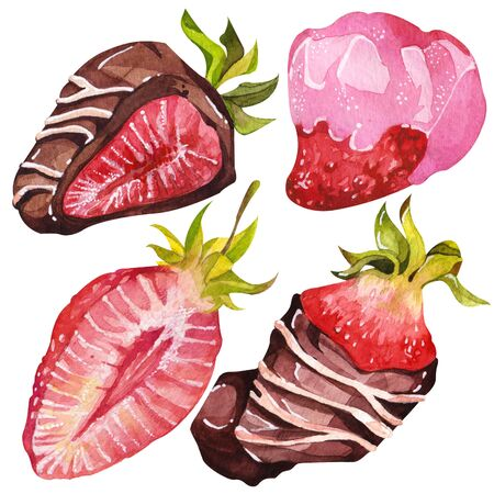 Chocolate-covered strawberries. Isolated elements. Watercolor illustration. Valentine's Day. Standard-Bild