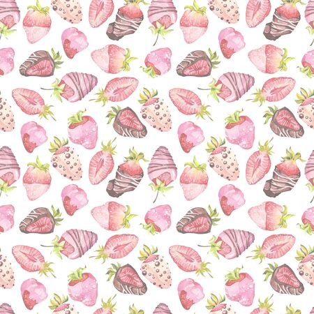 Chocolate-covered strawberries. Watercolor illustration. Seamless patterns. Valentine's Day.