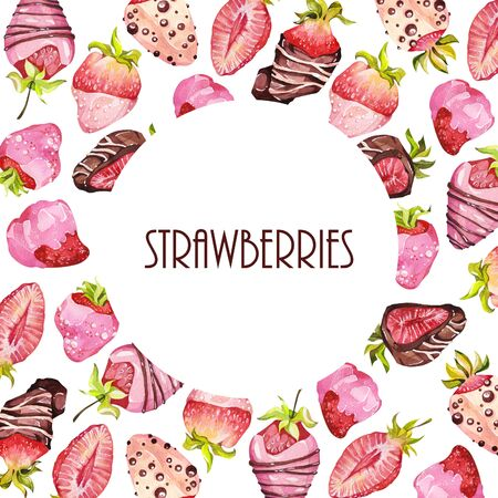 Chocolate-covered strawberries. Watercolor illustration. Frames. Valentine's Day. Editorial