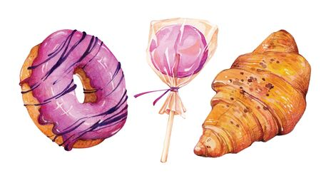 Watercolor hand painted pastries collection. Sketch set of dessert. Pastry sweets collection: doughnuts, candies, croissants, muffins and macaroons. Standard-Bild