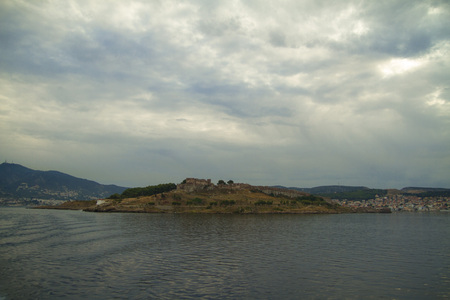 mediterranian: Coast of Lesvos Island Greece. Ancient castle, town and mountains of Lesvos.