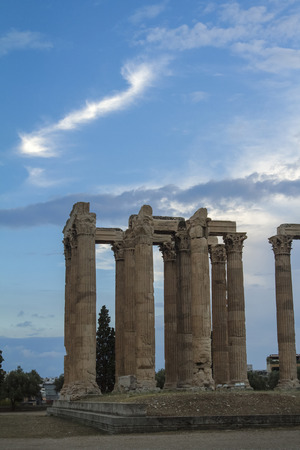 Ancient Temple of Zeus in Athens, Greece. Stock Photo