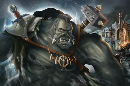 warhammer: Fantastic warrior burns the town. 2D concept art  illustration