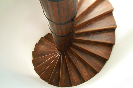 spiral staircase: Wooden spiral staircase Stock Photo