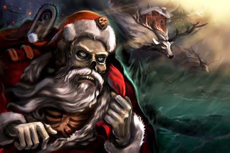 santa zombie: Dead Santa in town with his reindeers. Celebrating the new year.