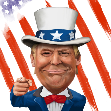 2 March 2017 - Ayvalik, Turkey: Donald Trump illustration with Uncle Sam Suit and flag. Illustrated in Turkey by Erkan Atay.