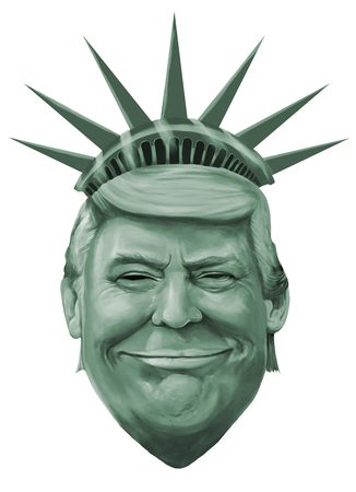 Liberty and Donald Trump themed cartoon portrait. Illustrated by Erkan Atay. 11 January 2017.