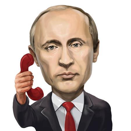 30 March 2017 - Ayvalık, Turkey: President of the Russian Federation Vladimir Putin  Caroon Portrait. Illustrated in Ayvalik,Turkey by Erkan Atay.