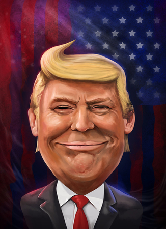 Donald Trump cartoon portrait illustrated by Erkan Atay. 11 January 2017.