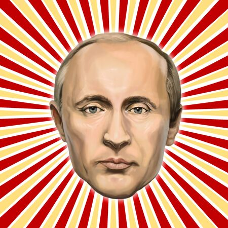 20 January 2017 - Ayvalık, Turkey: President of the Russian Federation Vladimir Putin  Portrait. Illustrated in Turkey by Erkan Atay. 新聞圖片