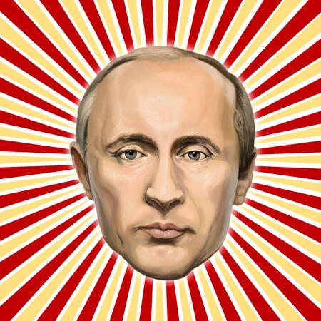2017 년 1 월 20 일-터키 AyvalÄ ± k : 러시아 대통령 블라디미르 푸틴 초상화. Erkan Atay에 의해 터키에서 삽화.