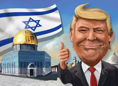 17 december, cartoon met Jeruzalem-thema van Donald Trump - Illustratie van de Amerikaanse president door Erkan Atay Redactioneel