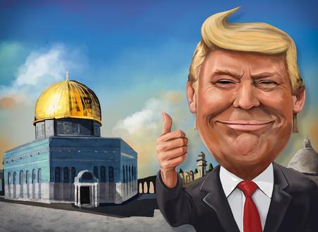 12月17日、エルサレムをテーマにしたドナルド・トランプの漫画 - アメリカ大統領のイラスト エルカン・アタイ 報道画像