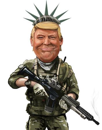 May 18, Democracy warrior themed cartoon of Donald Trump - Illustration of the American PresidentBy Erkan Atay 報道画像