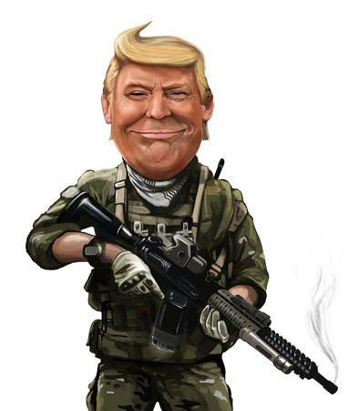 Donald Trump war themed cartoon - Illustration of the American President By Erkan Atay