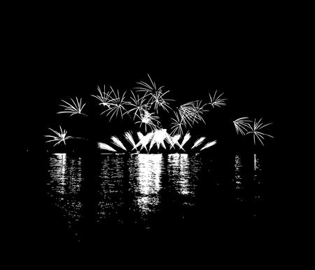 blasting: Fireworks with reflection on lake Illustration