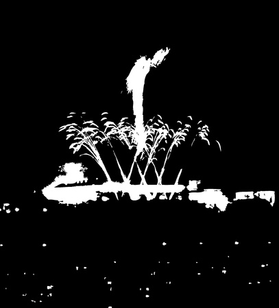 Fireworks over a  city  black  white vector illustration Vector