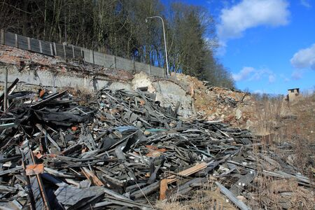 barracks: Photo from demolition  textile  factory in sunny day