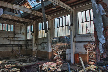 Photo from demolition  textile  factory in sunny day.Hdr photo.