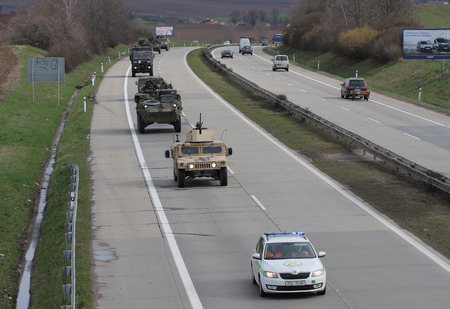 convoy: Brno,Czech Republic-March 30,2015 Dragoon ride US army convoy drives through Czech Republic, convoy, returning from the Baltic countries to a German base, entered the territory of the Czech Republic