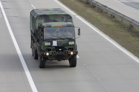 armored truck: Brno,Czech Republic-March 30,2015 Dragoon ride US army convoy drives through Czech Republic, convoy, returning from the Baltic countries to a German base, entered the territory of the Czech Republic
