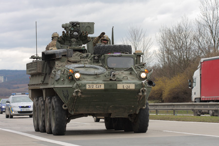 us territory: Brno,Czech Republic-March 30,2015 Dragoon ride US army convoy drives through Czech Republic, convoy, returning from the Baltic countries to a German base, entered the territory of the Czech Republic