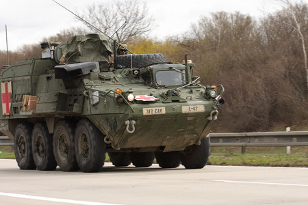 convoy: Brno,Czech Republic - March 30, 2015:Dragoon Ride - US army convoy drives through Czech Republic. The U.S. military convoy, returning from the Baltic countries to a German base, entered the territory of the Czech Republic Editorial