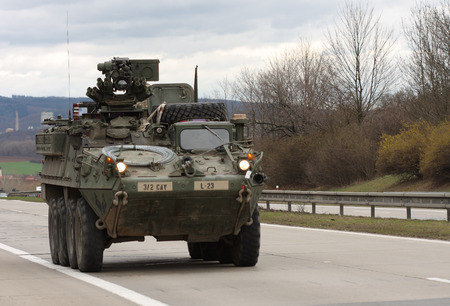 us territory: Brno,Czech Republic - March 30, 2015:Dragoon Ride - US army convoy drives through Czech Republic. The U.S. military convoy, returning from the Baltic countries to a German base, entered the territory of the Czech Republic Editorial