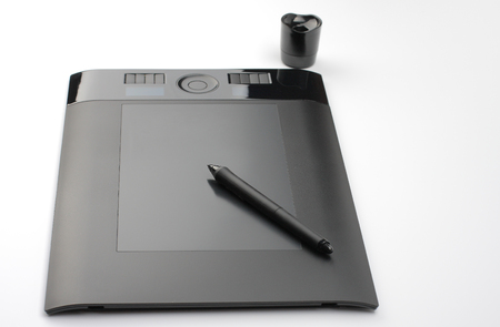 inputting: graphic tablet and pen and stand for Nibs on white background