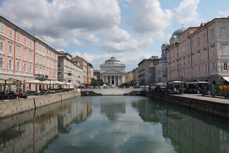 trieste: TRIESTE, ITALY - AUGUST 18, 2015 : The Grand Canal on August 18, 2015 in Trieste on Italy. Trieste is a popular tourist town in Italy.