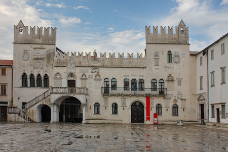 praetorian: The Praetorian Palace, Venetian Gothic palace in the city of Koper in Slovenia after rain.