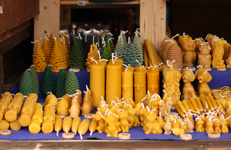 Candles from beeswax at christmas market Stock Photo