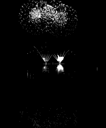 blasting: Vector Fireworks with reflection on lake