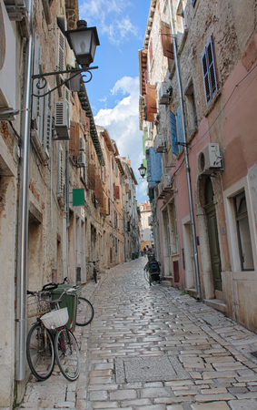 Lane in Rovinj in Croatia in the summer day
