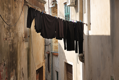 shirt: Laundry on the clothesline in Croatia town Rovinj.