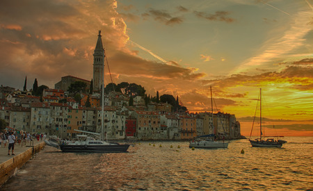 Port of Rovinj in the sunset time in Croatia. Stock Photo