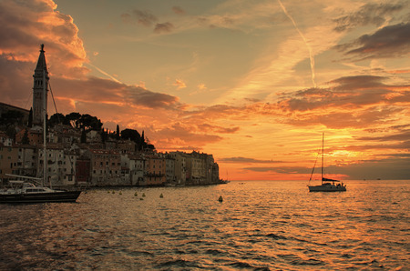 sea of houses: Port of Rovinj in the sunset time in Croatia. Stock Photo