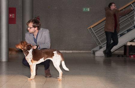 spotted dog: BRNO, CZECH REPUBLIC - FEBRUARY 7.2016: Man with Czech spotted dog on International dog show Duo CACIB On February 7.2016 in Brno in Czech Republic. Editorial