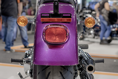 harley davidson motorcycle: BRNO, CZECH REPUBLIC-MARCH 4,2016: Close up of rear lights  of motorcycle Harley Davidson at International Fair for Motorcycles on March 4,2016 in Brno in Czech Republic