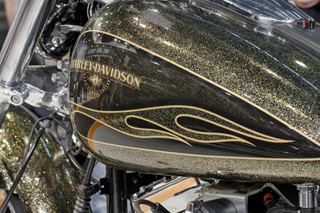 fuel tank: BRNO, CZECH REPUBLIC-MARCH 4,2016: Close up fuel tank of motorcycle Harley Davidson Softail Breakout on International Fair for Motorcycles on March 4,2016 in Brno in Czech Republic