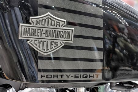 sportster: BRNO, CZECH REPUBLIC-MARCH 4,2016: Close up  fuel tank of motorcycle Harley Davidson Sportster Forty-Eight  on International Fair for Motorcycles on March 4,2016 in Brno in Czech Republic