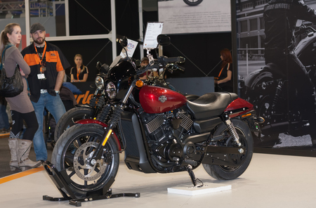 harley davidson motorcycle: BRNO, CZECH REPUBLIC-MARCH 4,2016: Motorcycle Harley Davidson Street 750 at  International Fair for Motorcycles on March 4,2016 in Brno in Czech Republic