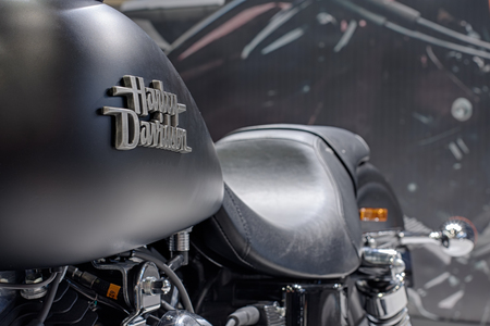 harley davidson motorcycle: BRNO, CZECH REPUBLIC-MARCH 4,2016: Close up of inscription on fuel tank of motorcycle Harley Davidson Street Bob Special  on International Fair for Motorcycles on March 4,2016 in Brno in Czech Republic Editorial