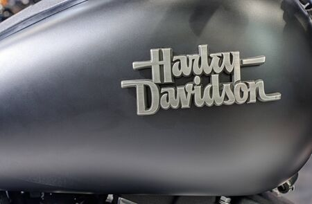 harley davidson motorcycle: BRNO, CZECH REPUBLIC-MARCH 4,2016: Close up  fuel tank of motorcycle Harley Davidson Street Bob Special  on International Fair for Motorcycles on March 4,2016 in Brno in Czech Republic