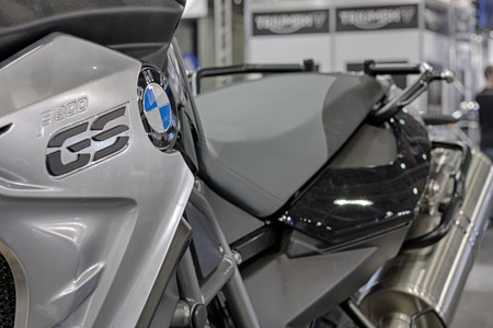 cylinder block: BRNO, CZECH REPUBLIC-MARCH 4,2016: Close up of inscription on motorcycle BMW F 800 GS on International Fair for Motorcycles  on March 4,2016 in Brno in Czech Republic