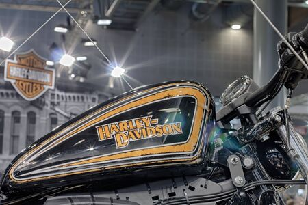harley davidson motorcycle: BRNO, CZECH REPUBLIC-MARCH 4,2016: Close up  fuel tank of motorcycle Harley Davidson  on International Fair for Motorcycles on March 4,2016 in Brno in Czech Republic