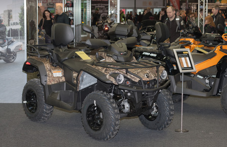 outlander: BRNO, CZECH REPUBLIC-MARCH 4,2016: Canadian Quad bike BRP Outlander L  Max 570 DPS at  International Fair for Motorcycles on March 4,2016 in Brno in Czech Republic