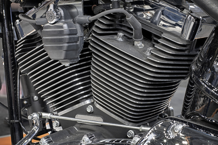 cooled: Detail of air cooled engine of motorcycle.