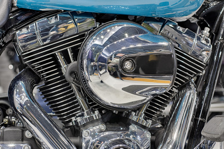 twin engine: Detail of  air cooled twin engine with integrated oil cooler of motorcycle